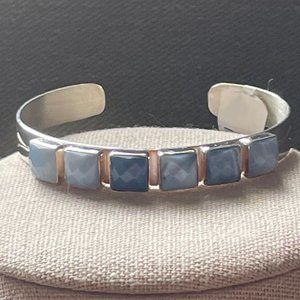 Jay King 6 Stone SS Dream BLUE OPAL Cuff Bracelet